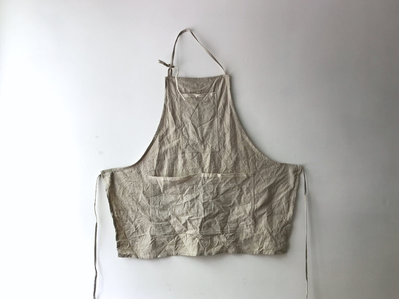 Beige cotton and linen short apron
