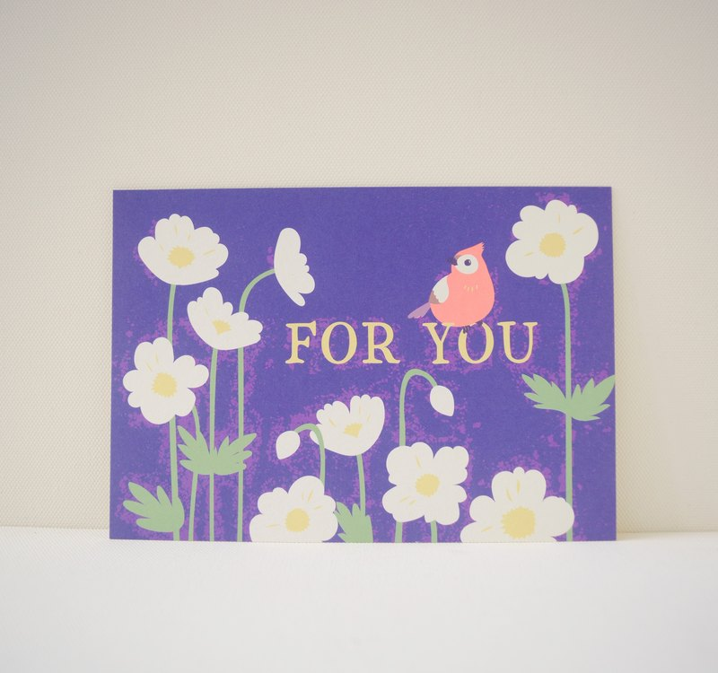 Postcard printed version: daisies and red tits - Universal Cards - Birthday Card - Gift Card