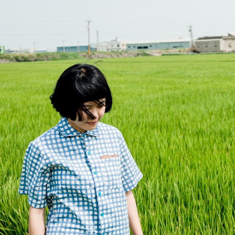 Dog stool / double layer  soft shirt / blue grid