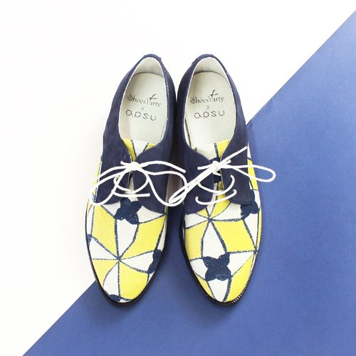 Mosaic Do not think Derby shoes / handmade custom / Japanese fabric / M2-16007F