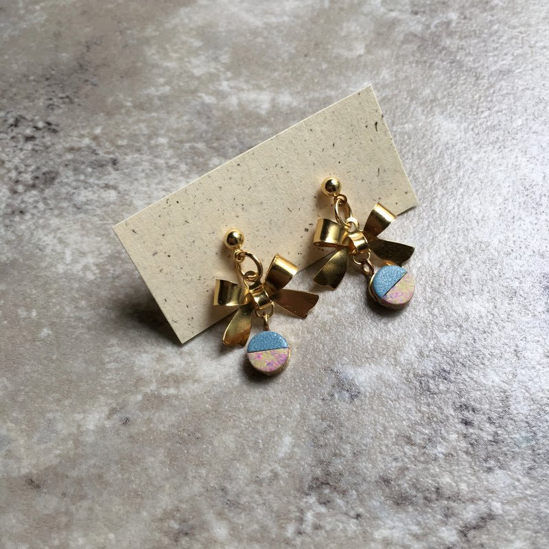 Ribbon Bell - Brass Solid Bow Two-tone Leather Bell Earrings
