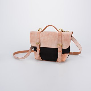 [Canvas meets leather] Summer portable small canvas messenger bag handbag shoulder bag fog wax color matching