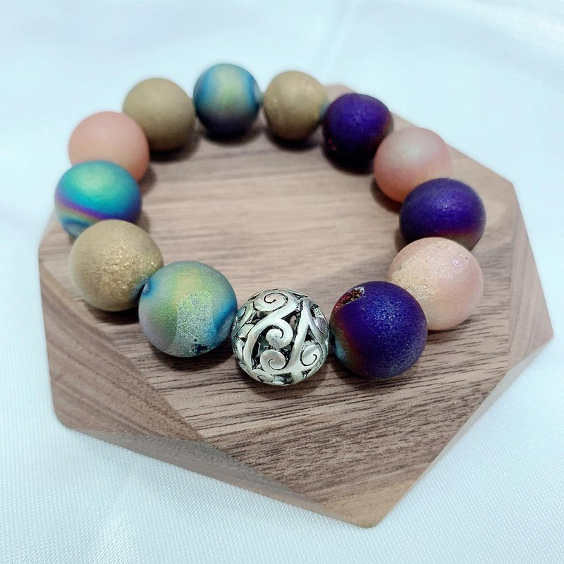 14mm agate matte flash stone beads with Chinese silver bracelet