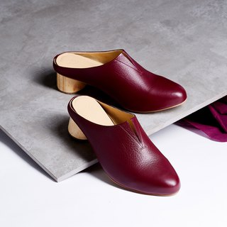 Red Burgundy - Pecan Mule Heel