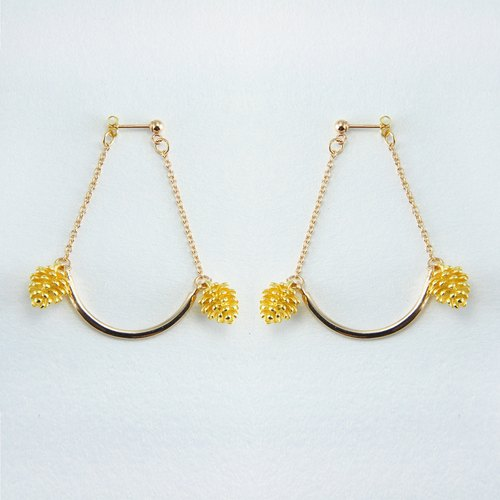 14k Gold Stud Earrings 【Gold Swing Flowers】