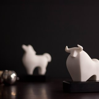 "Quan Art Gallery Chuan _ ""growth series - Achievements cow"" cow style stone"