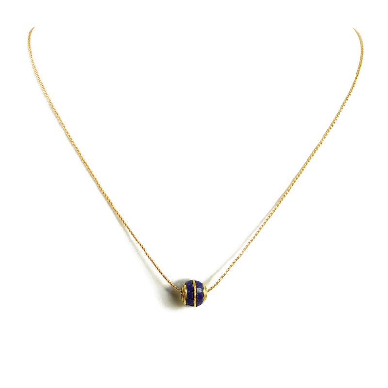 Ficelle | Handmade Brass Natural Stone Necklace | [Blue] Nepalese Handmade Stone Inlay Necklace