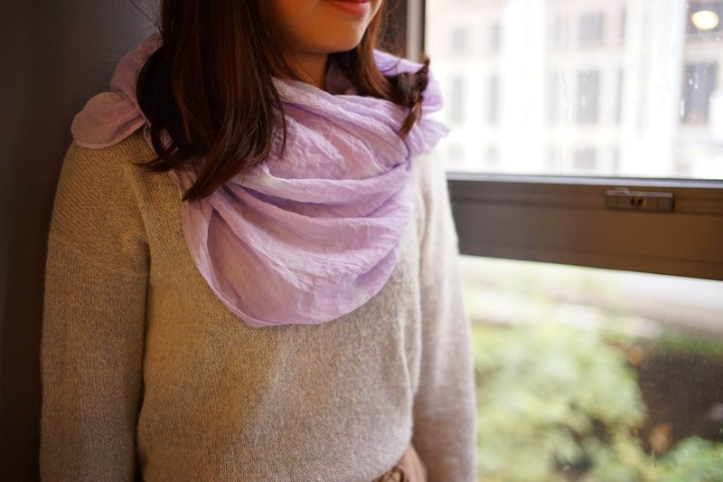 Tie-dyed cotton and linen scarf. Shawl | Violet Purple