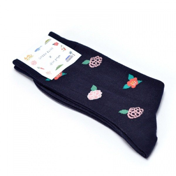 GREEN BLISS Organic Cotton Socks - [Genuine Series] Jeju artye Camelia Deep Blue Camellia Socks (Male / Female)
