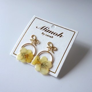 Yellow Viola Tricolor Earrings with 24K Gold Posts