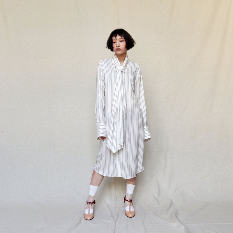 Pumpkin Vintage. Ancient Maison Margiela Premium Silk Strap Striped Dress