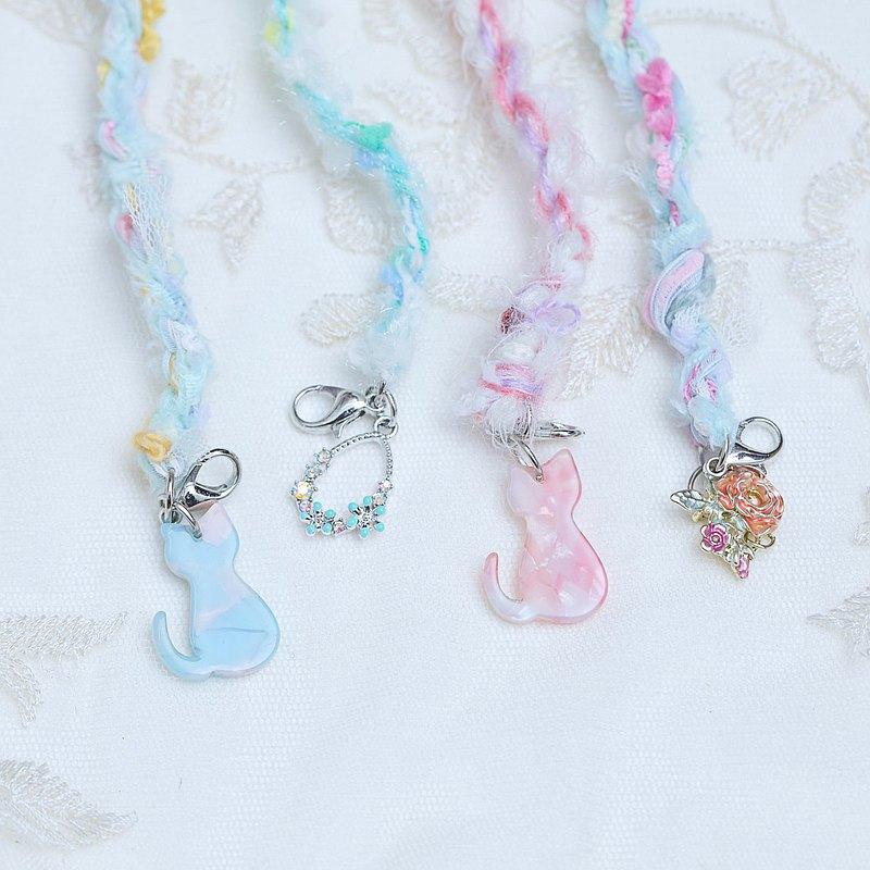 口罩減壓帶 清透藍 貓咪 花朵日本混合紗線  口罩繩 口罩掛繩