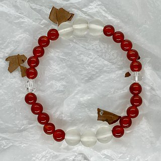 BR0387 - Natural Gemstone Bracelet - Design and Manufacture - Natural Red Agate and White Crystal