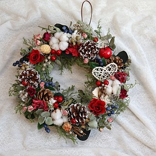 璎 Luo manor*wedding small objects*non-withered flowers. Eternal flowers. Dry flowers*GIFT*Gift G77 / Eternal Flower Rose / Christmas Wreath / White Christmas
