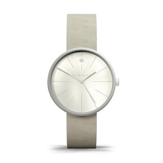 THE NEW YORK - LADIES SILVER LEATHER STRAP WATCH