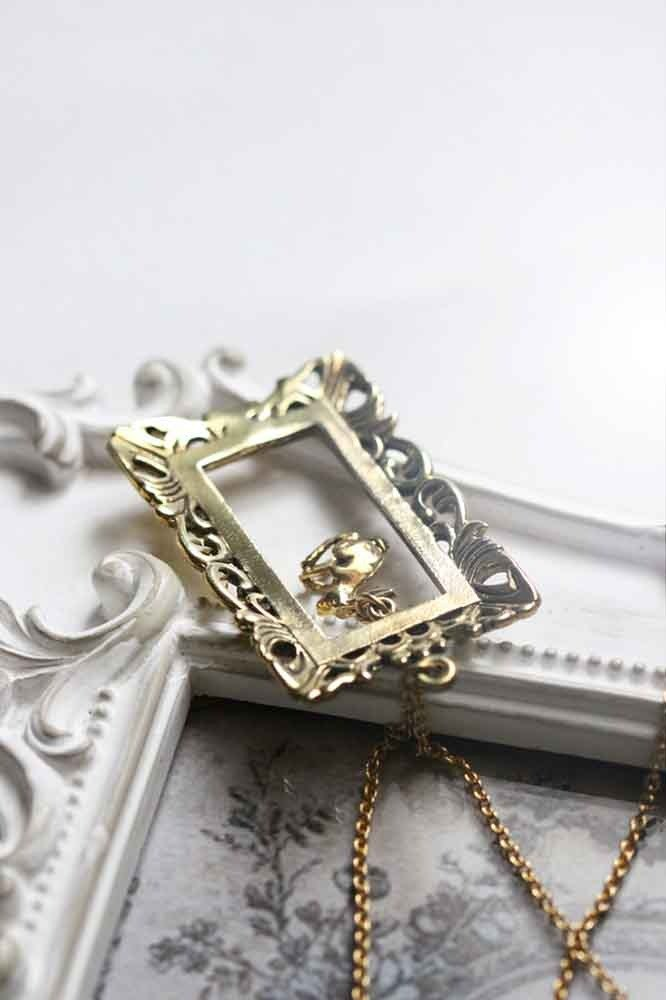 Rabbit in Vintage Frame Necklace by linen.