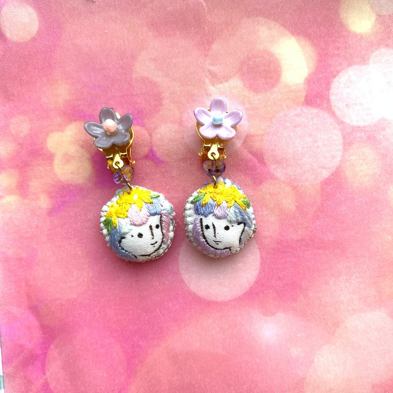 hand-painted embroidery granular earrings earring -- Pastoral