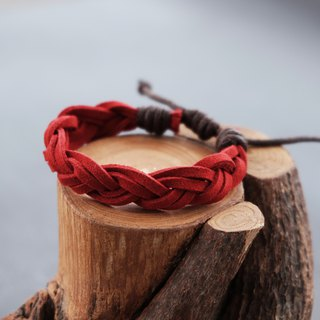 Red suede cord braided adjustable bracelet