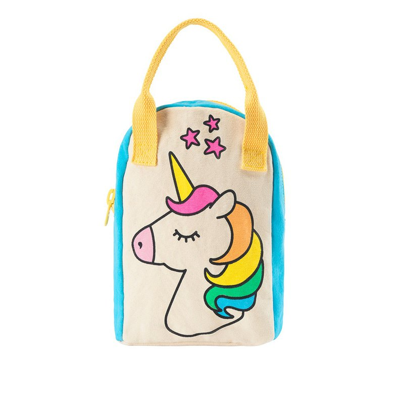 Canada fluf organic cotton [portable backpack] travel backpack - rainbow unicorn
