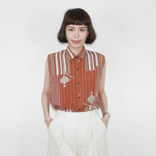 Brown Straight Retro Chiffon Vintage Sleeveless Blouse BK4019