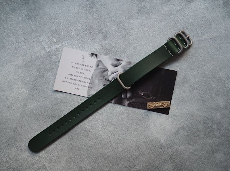 NATO strap water ghost military table for Italy imported dark green leather handmade leather design customized