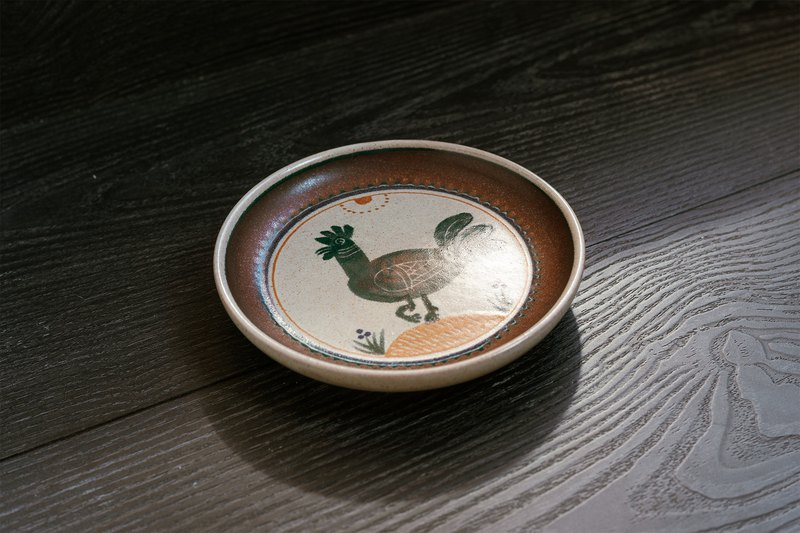 German KMKーDekor series cock hand-painted decoration / snack small plate