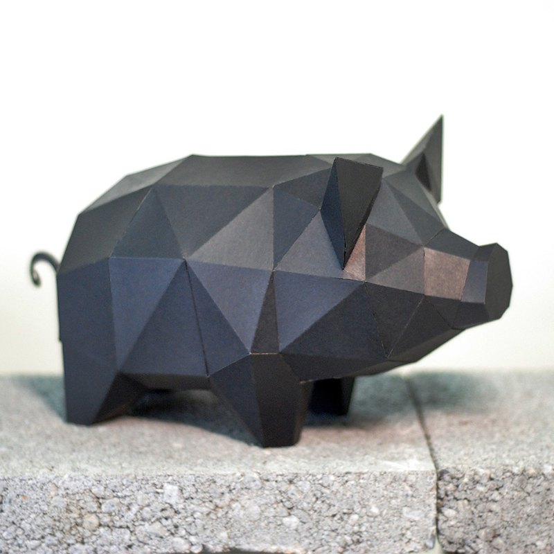 DIY hand made 3D paper model ornaments small animal series - piglet (4 colors optional)