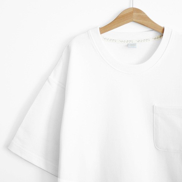 Loose off shoulder hem open version of cotton white thick plain pocket Tee - size Qi
