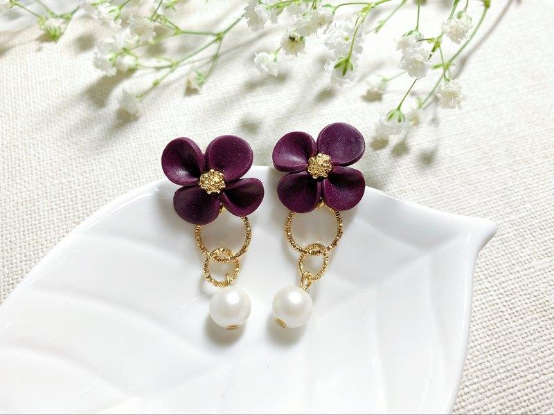 深紫紅單朵花 貼耳式耳環/耳夾