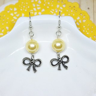 Alloy * * _ yellow bow hook earrings ➪ Limited X1