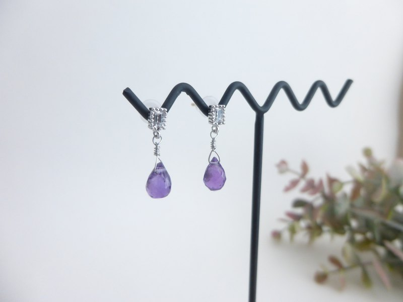 Amethyst Single Earring / Square Charm / sv925