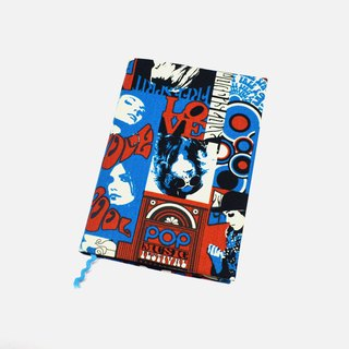 POP Music book cover with bookmark handmade Print Cotton Fabric canvas