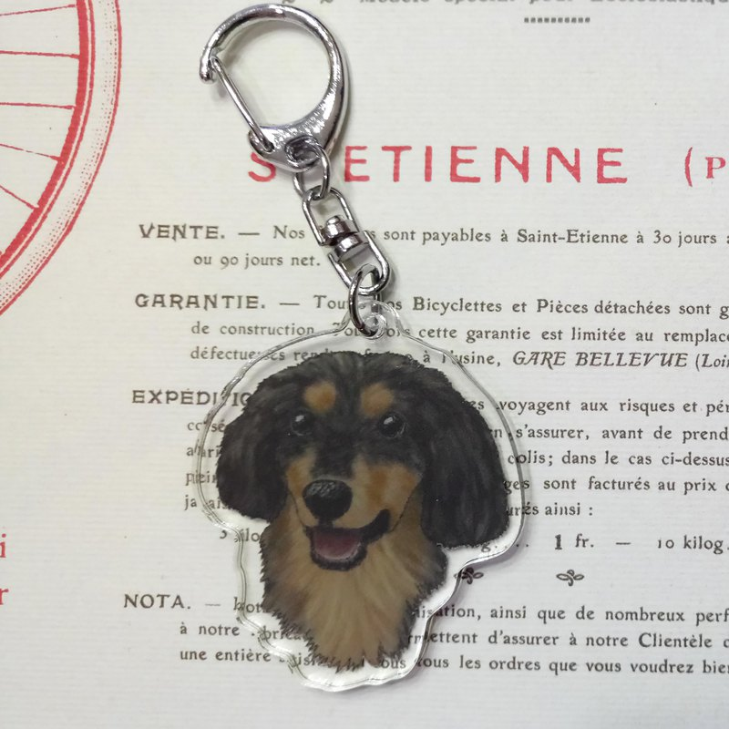 Two-color sausage - acrylic charm (key ring) double layer