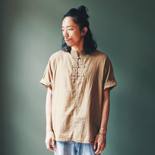OMAKE Select small collar button shirt shirt tea brown