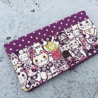 Lucky Cat passbook bag / wallet long clip