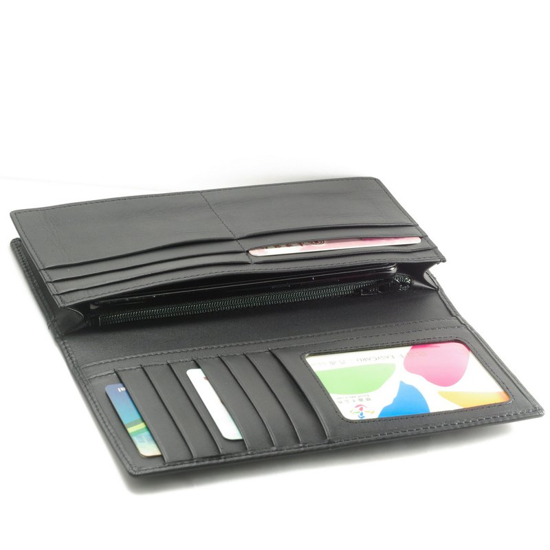 Classic male long clip leather wallet 12 card photo coin bag black pay guest lettering service