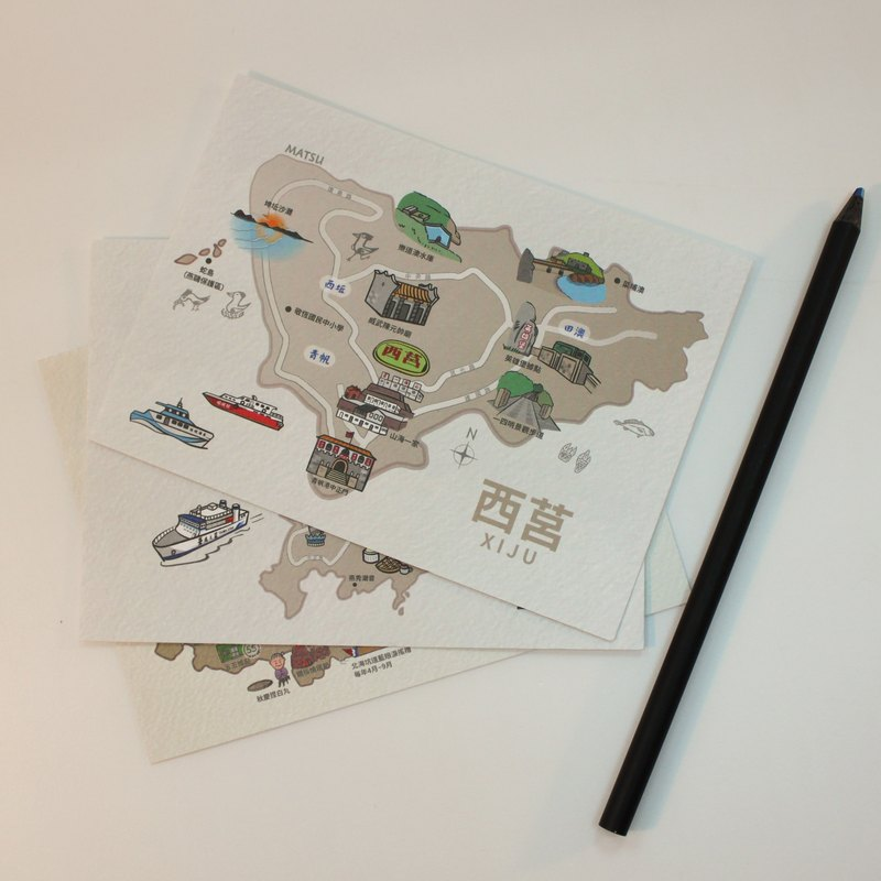 [西莒] Mazu map postcard _ high texture watercolor paper card