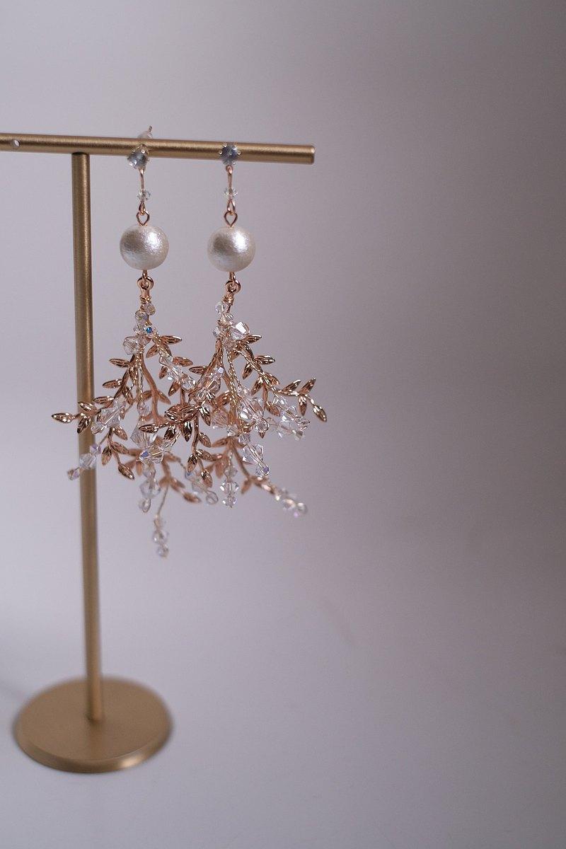 Swarovski水晶&棉花珍珠耳環,水晶耳環,珍珠耳環,Bridal Earrings