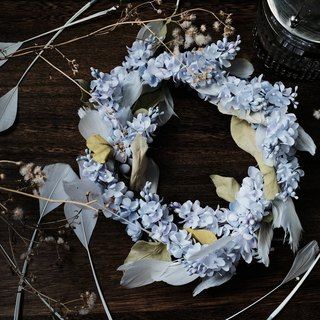 Lilac with feather wreath - Handmade fabric flowers wreath