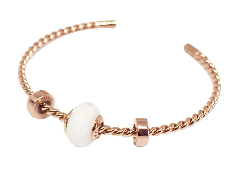 Silver Twist Bangle Set with Natural stone Charm - Pink gold plated