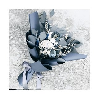 Participating Building [Gray Blue Emotion] | Dark Blue Satin & Dry Flower & Everlasting Flower & Not Withered