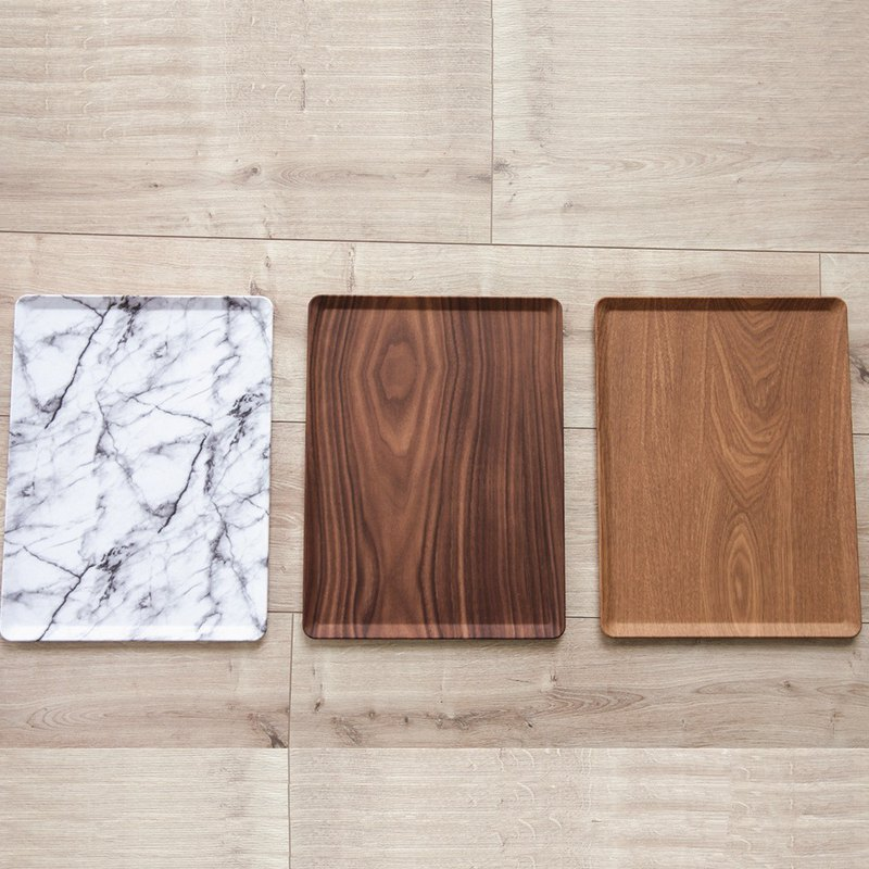 Nordic home style (L) marbled wood grain tray / plate / dish / nail plate (three colors)