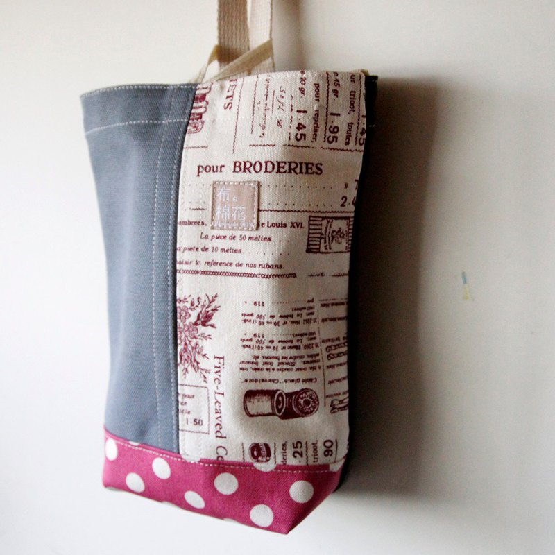 Hanging Tissue Box, housewarming,  gray canvas, newspaper, big pink spot