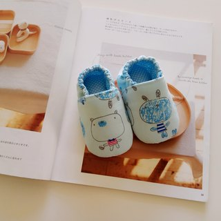 <Blue> Big head doll handmade baby shoes baby shoes toddler shoes 15/16 cm