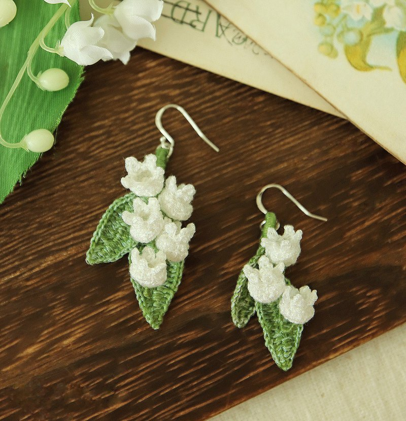 Lily of the valley earrings white three optional crochet soft flash effect pure silver ear hook ear clip ok