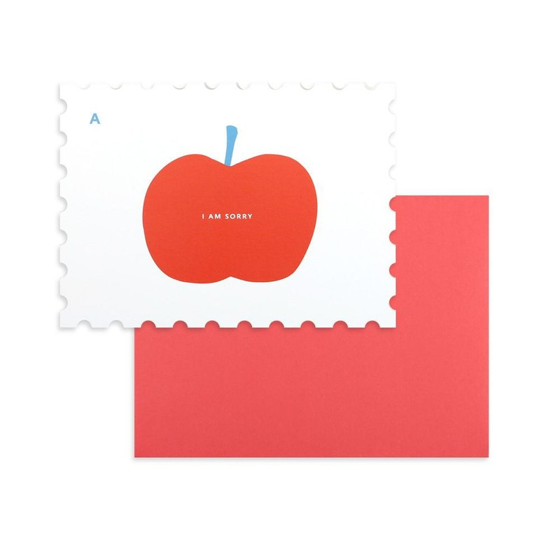 Stamp Shaped Card Envelope Set -09 Apple, E2D13325