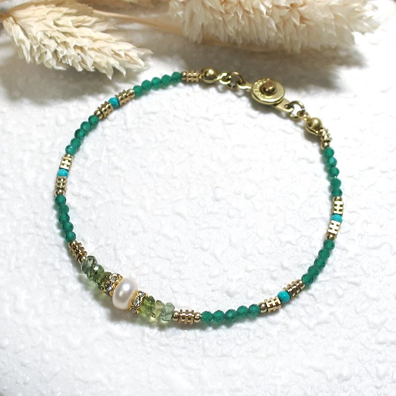 VIIART. Think carefully - emerald. Emerald Pearl Tourmaline Very Fine Brass Bracelet
