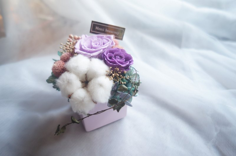 Cotton Party Purple Rose Potted Birthday Gift