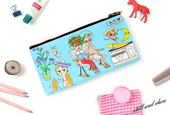 Bentoy x strange uncle - pencil box / cosmetic bag / Storage bag / cell phone bag (light blue)