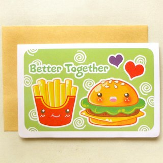 [卡片] 漢堡+薯條 // Hamburger and Fries Better Together Note Card